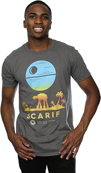 Star Wars Hombre Rogue One Scarif Sunset Camiseta: Amazon.es: Ropa y accesorios