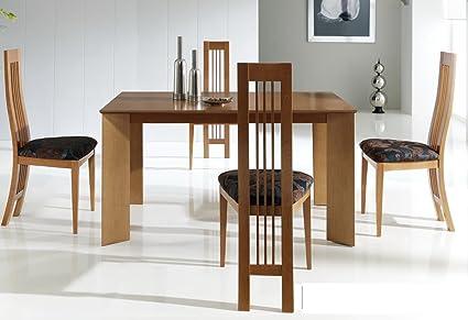 Mesa de comedor extensible 140 - 200 cm), color cerezo claro ...