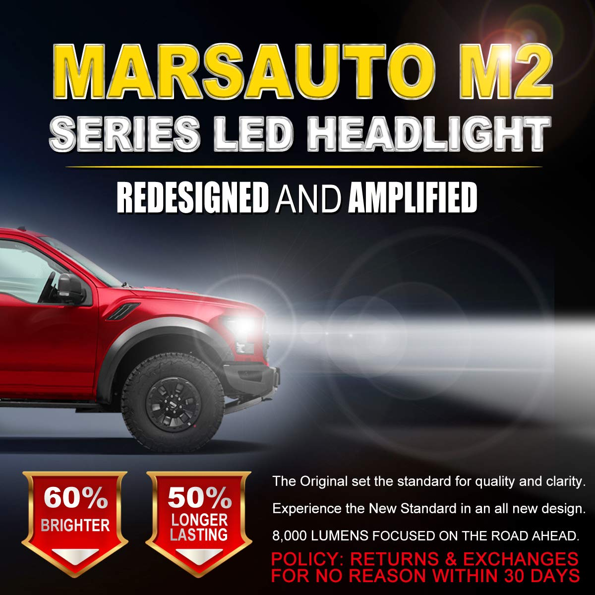 Marsauto M2 Series Super Bright Headlamp with Fan CANbus-Ready IP67 CSP Chips 10000LM 6000K Xenon White 2-Pack 9005//HB3 LED Headlight Bulbs High Beam Conversion Kit