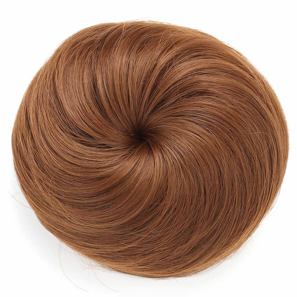 OneDor Synthetic Hair Bun Extension Donut Chignon Hairpiece Wig (8A#-Light Chestnut Brown) SE-201