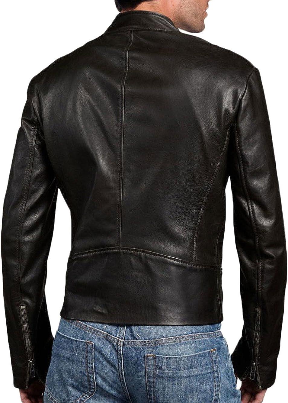 Men Leather Jacket New Soft Lambskin Slim Biker Bomber Coat T1321
