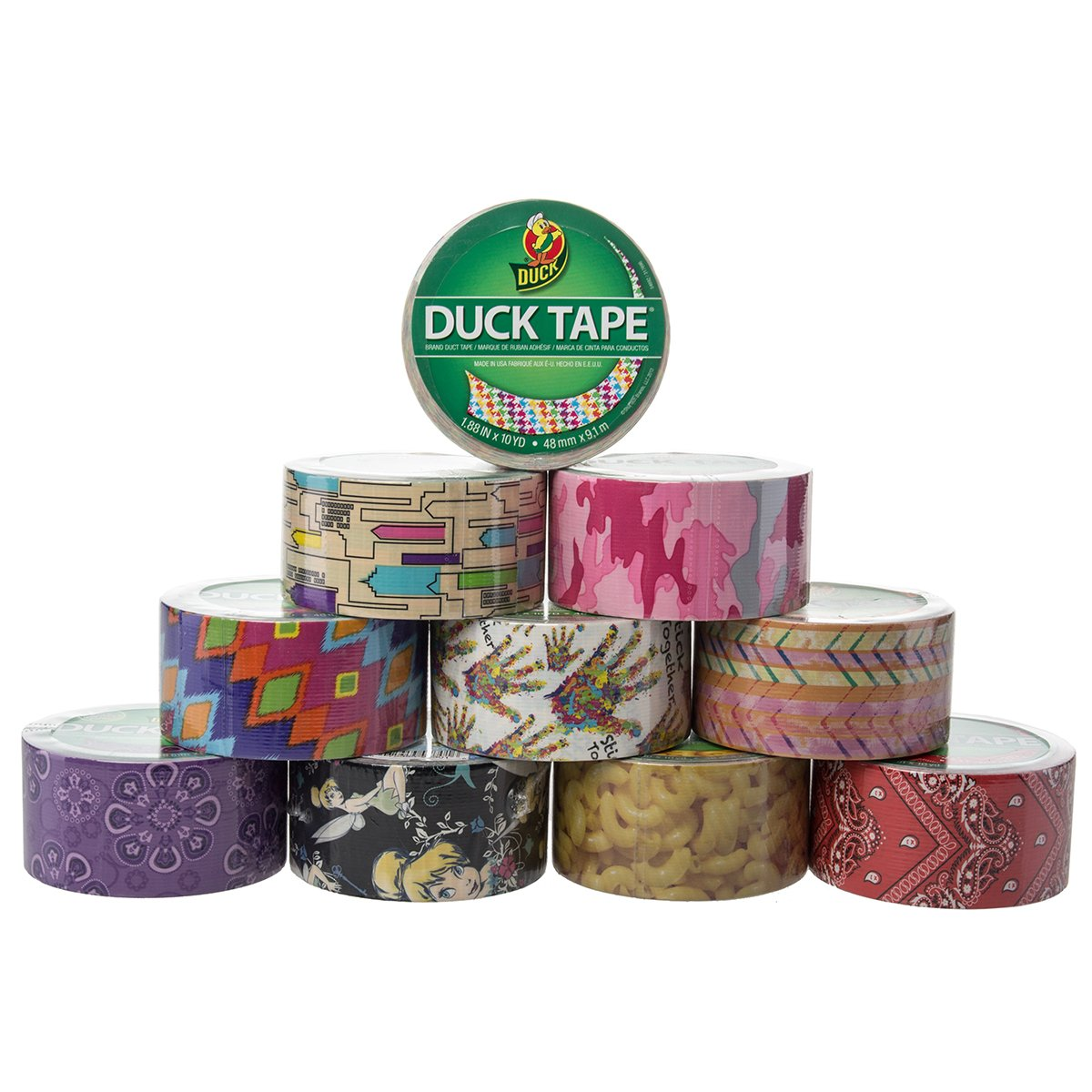 10 Rolls Printed Duck Brand Duct Tape Patterns Arts & Crafts Projects DIY 100yds