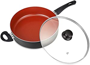 MICHELANGELO 5 Quart Induction Saute Pan with Lid, Ultra Nonstick 11 Inch Deep Skillet with Lid, Nonstick Saute Pan, Titanium Skillet 11 Inch, Nonstick Deep Pan, Induction Compatible - Red