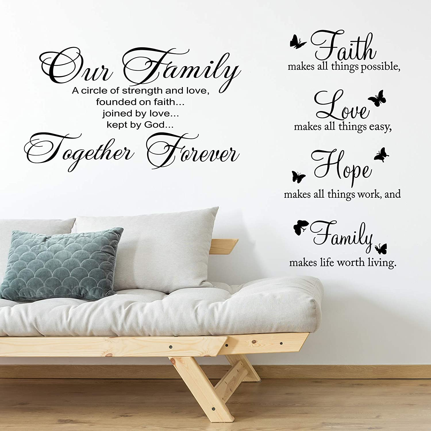 2 Pieces Vinyl Wall Quotes Stickers Faith Hope Love Family Scripture Wall Stickers Bible Verse Inspirational Sayings for Home Office School Classroom Teen Dorm Living Room Art Wall Decorations