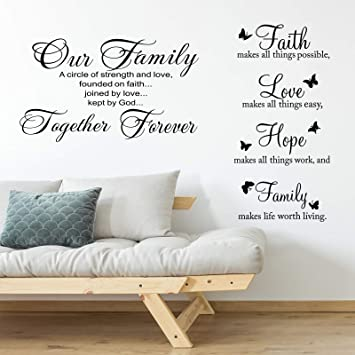 2 Pieces Vinyl Wall Quotes Stickers Faith Hope Love Family Scripture Wall Stickers Bible Verse Inspirational Sayings For Home Office School Classroom Teen Dorm Living Room Art Wall Decorations Amazon Com