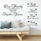 2 Pieces Vinyl Wall Quotes Stickers Faith Hope Love Family Scripture Wall Stickers Bible Verse Inspirational Sayings for Home