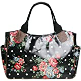 Womens Rose Flower and Polka Dot Day Tote Bag