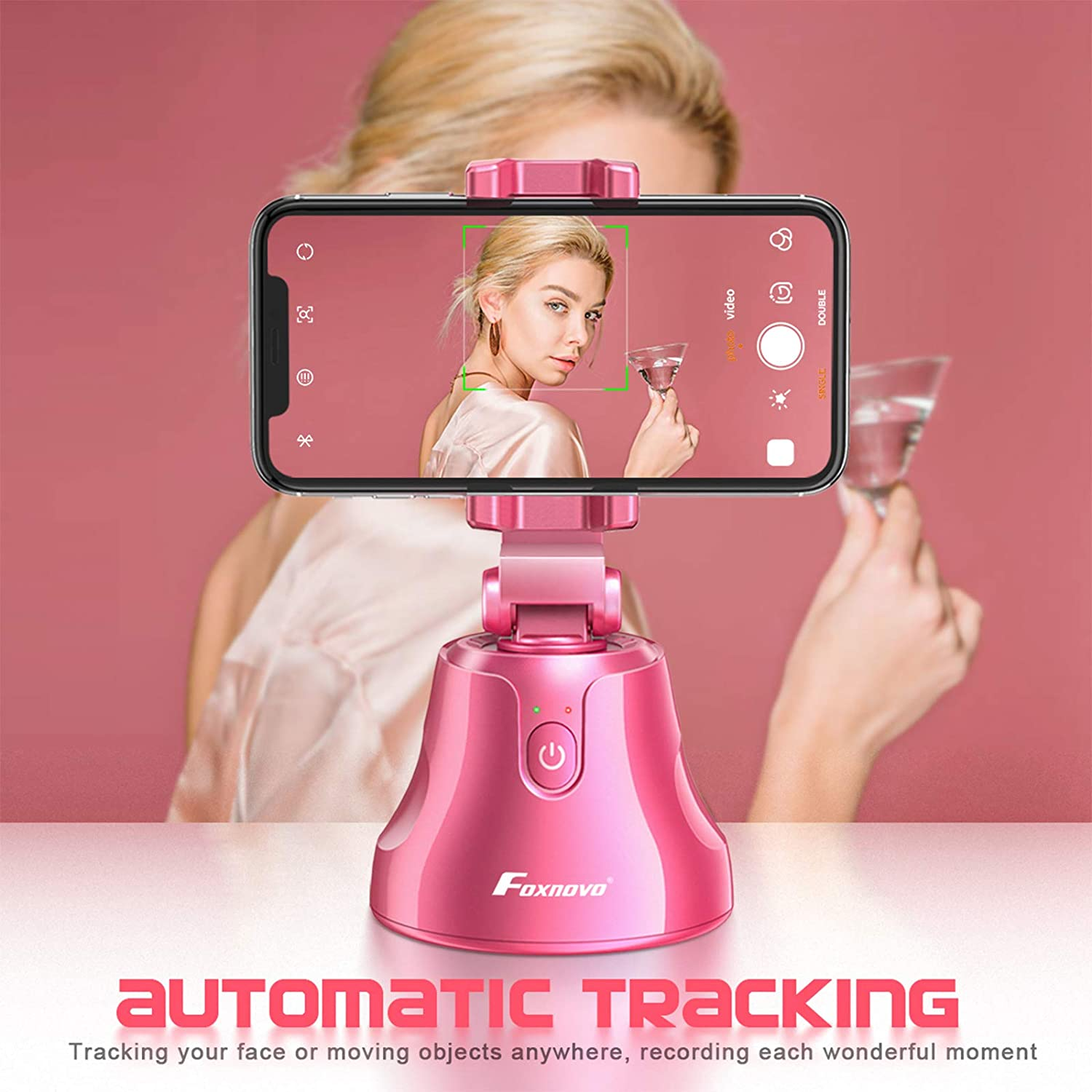 Smart Selfie Stick, Auto Face/Object Tracking Holder Intelligent Follow Portable Invisible Selfie Stick (Pink)