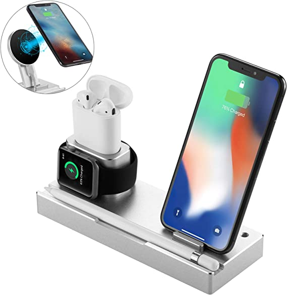 NEXGADGET Aluminum Charging Stand, 6 in 1 Charging Dock Compatible for Apple WatchAirPodsiPadApple Pencil,Detachable Wireless Charger Replacement