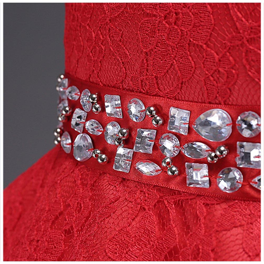1453641a5a2c LSERVER-Abito in Pizzo con Coda Ragazza con Diamanti Bambine Vestito  Principessa Abiti da Sera ingrandisci