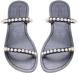 2d1e92afc1f63 Mystique Original Genuine Leather Handmade Women s Black Imitation Pearl Strap  Flat Beachy Bohemia Sandals