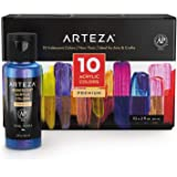 Arteza Iridescent Acrylic Paint, Set of 10 Chameleon Colors, 2 oz/60ml Bottles, High Viscosity Shimmer Paint, Water-Based, Bl