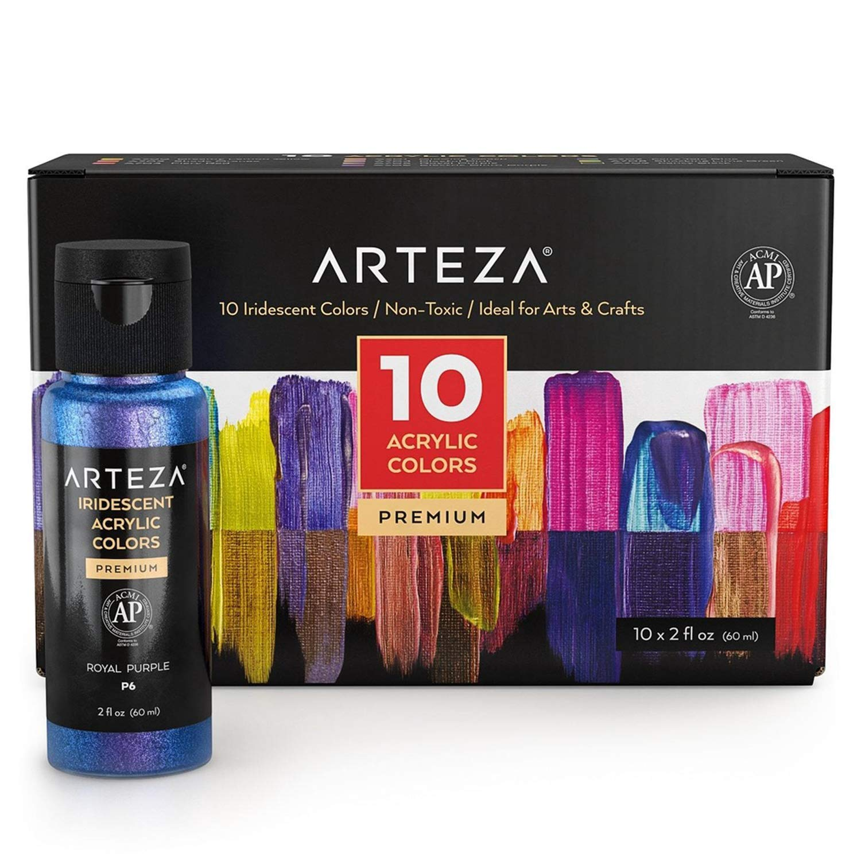 Arteza Zestaw farb akrylowych iryzowanych