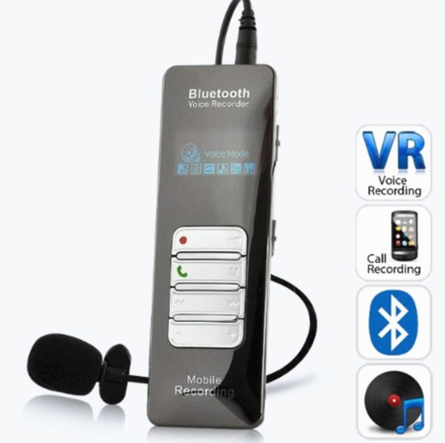 AMEST KING DVR188 4GB One-button Recording Bluetooth Voice and Call Recorder for Mobile Phones