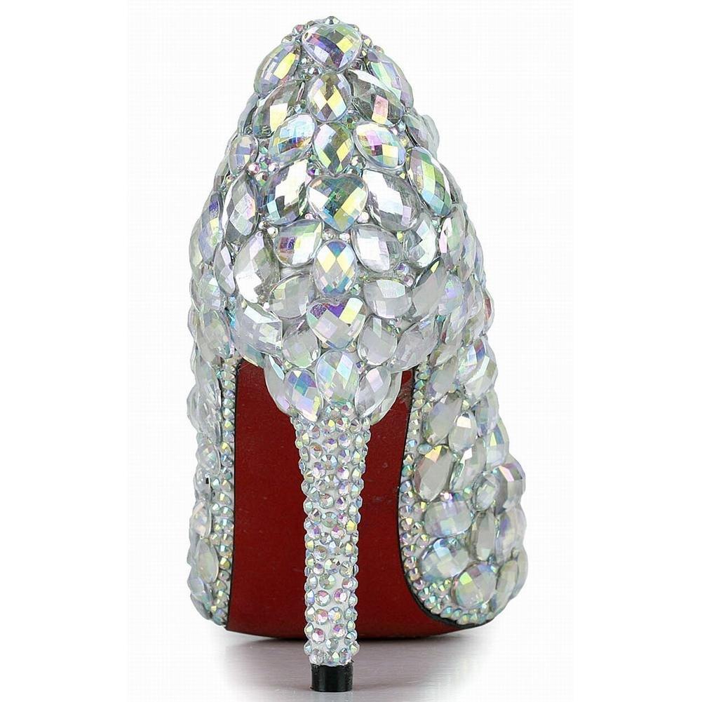 Frauen Diamant Kristall Schuhe Dünne High Abend Heels Handgefertigte Leder Nachtclub Abend High Hochzeit Party Pumps Braut Brautjungfern Sandalen 42ebad