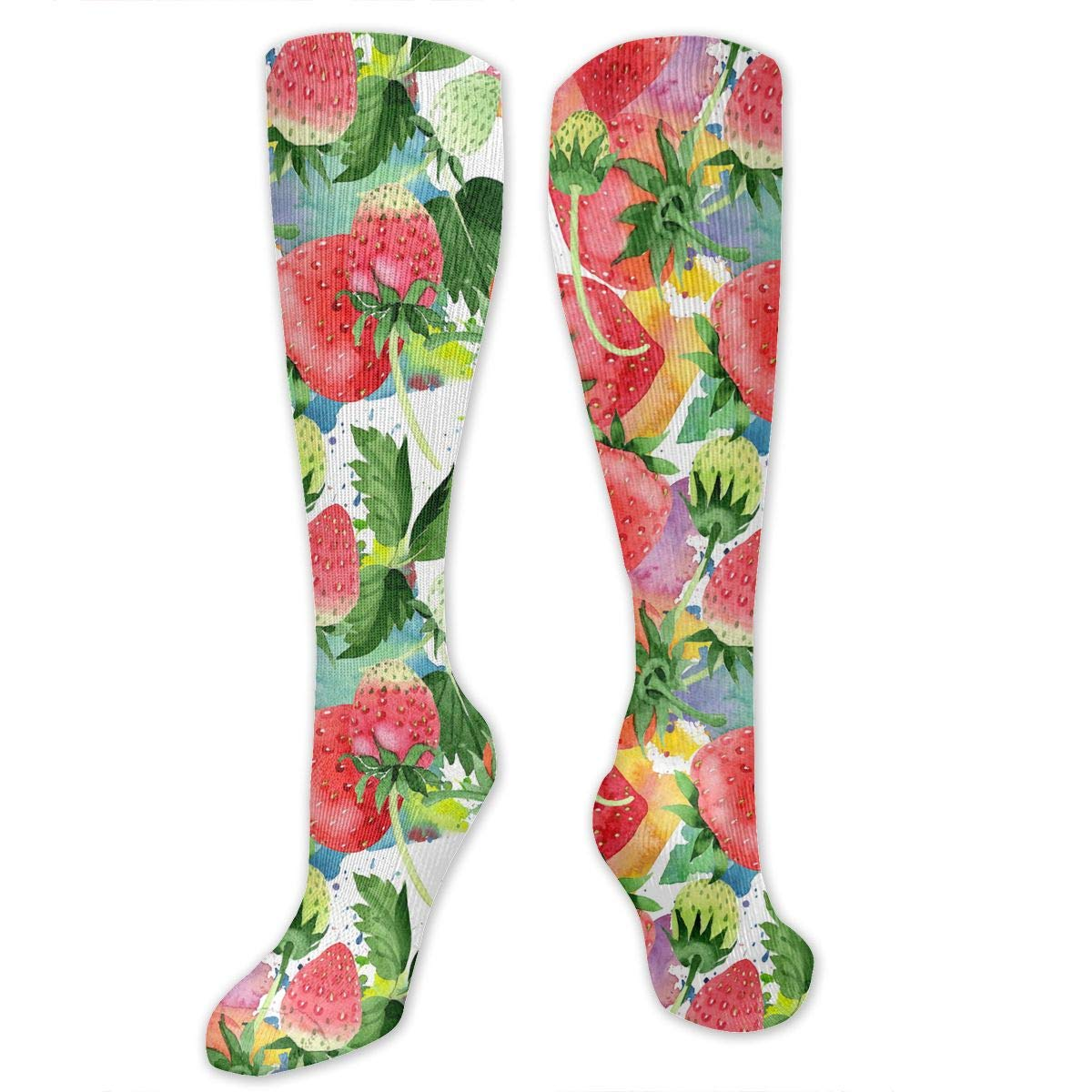 Unisex Red Strawberries Pattern Knee High Compression Thigh High Socks Soccer Tube Sock