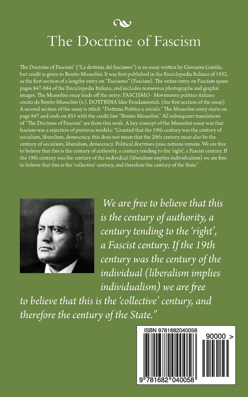 the doctrine of fascism benito mussolini  the doctrine of fascism benito mussolini 9781682040058 com books