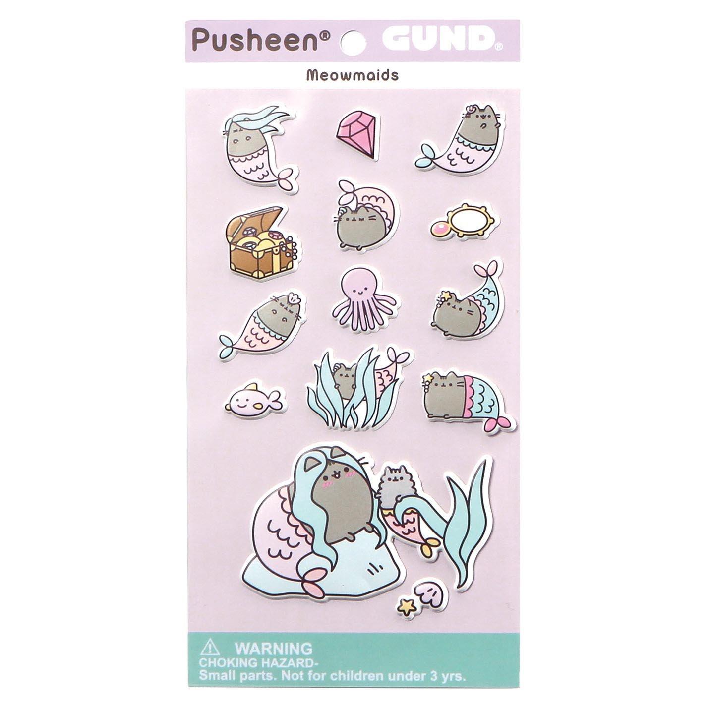 Gund Pusheen Sirenita Sticker,, 9x18.5x13.00 cm (Enesco 4060832)