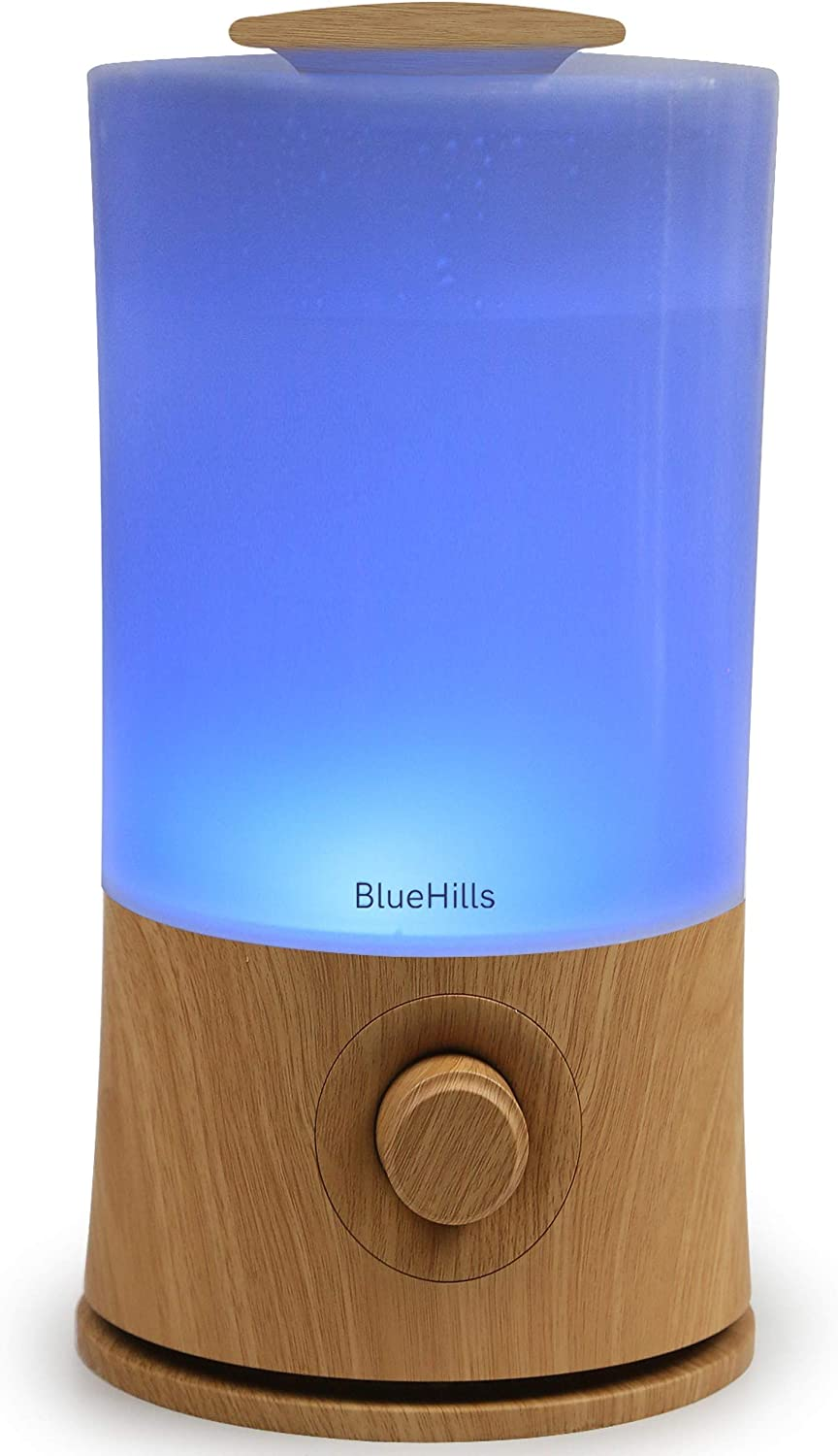 BlueHills Premium 2000 ML XL Large Essential Oil Diffuser Aromatherapy Humidifier for Large Room Home 40 Hour Run Huge Coverage Area 2 Liter Extra Large Capacity Huge Diffuser Wood Grain E005