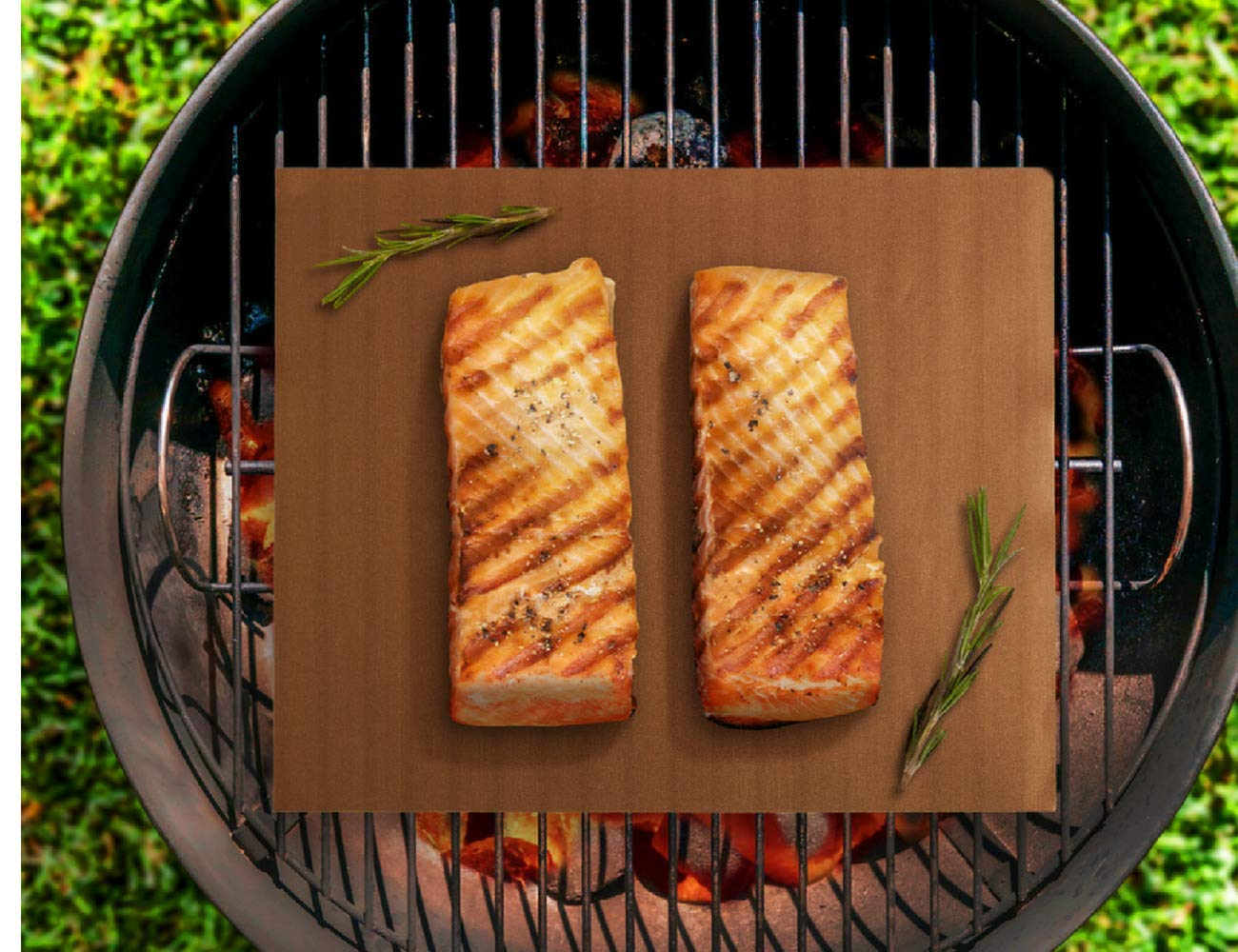 The best Grill Mat, Non-Stick BBQ Grilling Mat, Heavy Duty Weber Grill Mat, Set of 2, Size 13\