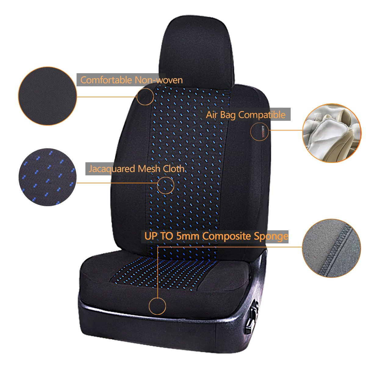 NEW ARRIVAL Black and Gray LJ CAR PASS 11PCS Supreme Universal Jacquard Car Seat Covers Set Universal fit for Vehicles,Cars,SUV,Airbag Compatible