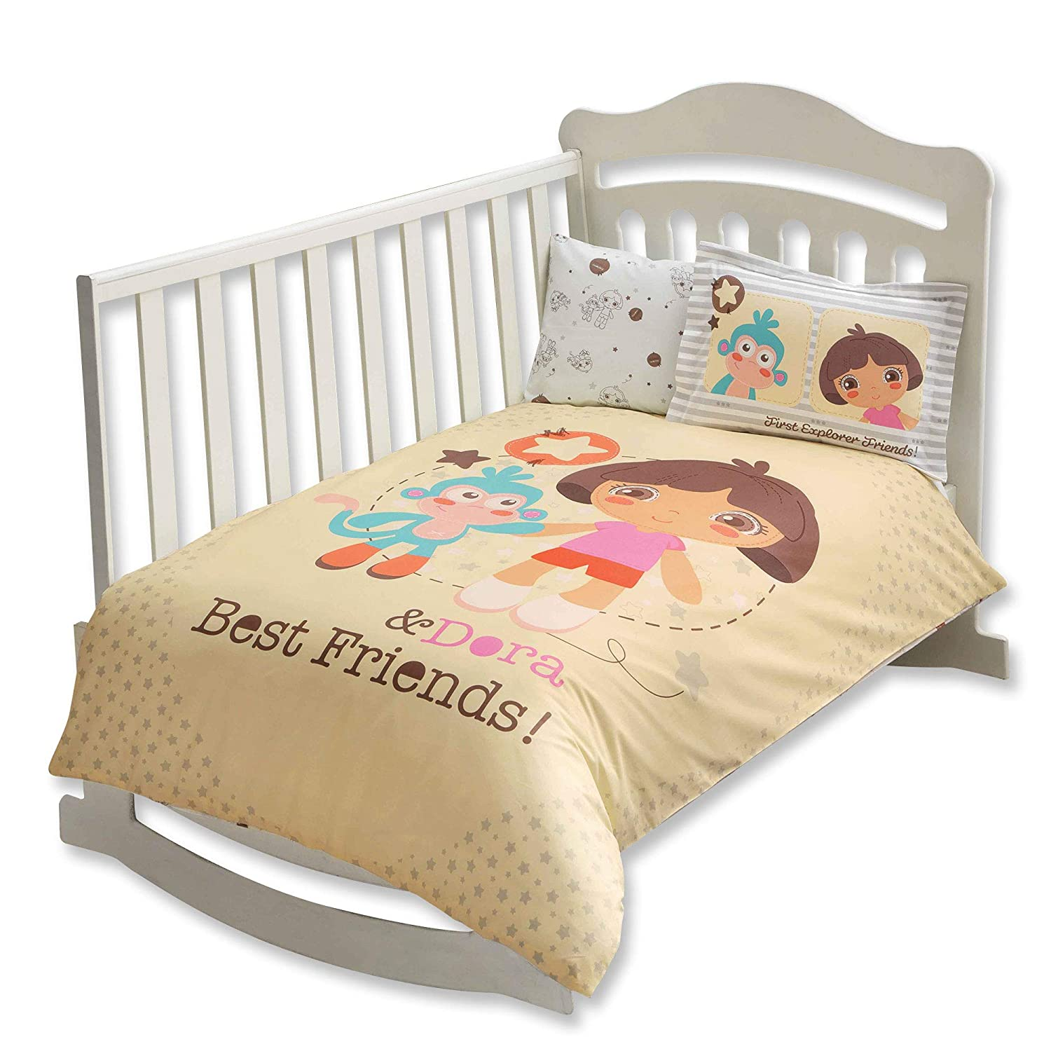 100% Organic Cotton Soft and Healthy Baby Crib Bed Duvet Cover Set 4 Pieces, Dora Best Friends Baby Bedding Set TAC