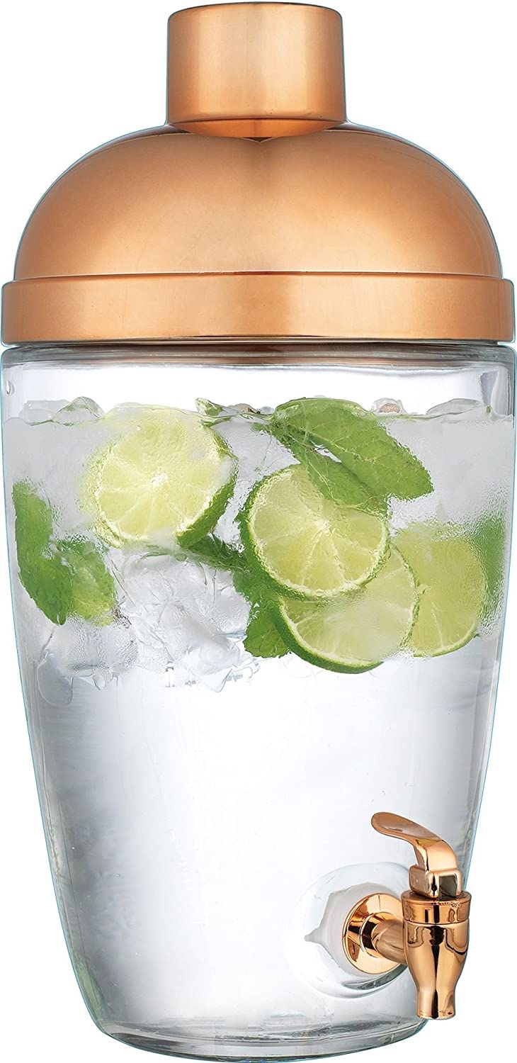 Modern 1 Gallon Shaker Design Ice Cold Clear Glass Beverage Drink Dispenser With Copper Colored Lid & Spigot- Great For Outdoors, Parties, Laundry Rooms, & Daily Use