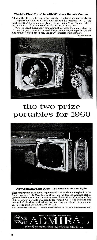 "ORIGINAL *PRINT AD* 1959 ADMIRAL THIN MAN TV & SON-R REMOTE CONTROL "" World's First Portable..."" VINTAGE LONG NON-COLOR AD - USA - NICE !!"