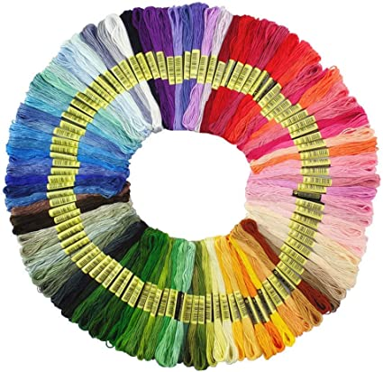 Set de 50 Madejas de Hilos para Punto de Cruz Manualidades Surtido de 100 Hilos de Coser de Color para Bordados de Punto de Cruz Pulseras de Punto