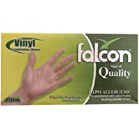 Falcon Clear Vinyl Disposable Gloves, Safe Food, Non Sterile, Virus Protection, Latex Free, Rubber Free, Protection Gloves, Premium Quality, Powdered, Daily Usage, Medium Size, Box of 100