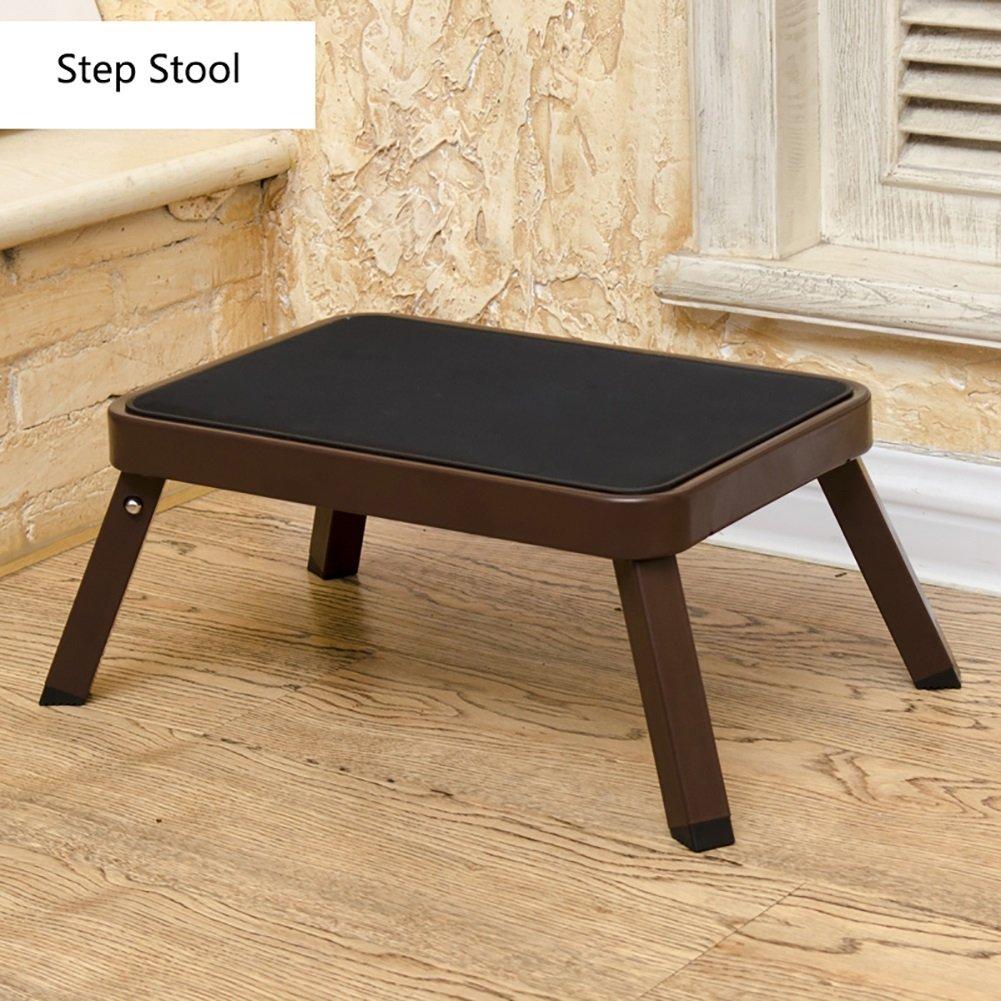 Black Small Step Stool For Kids Kitchen Adults Folding Ladder Stool Portable Foldable Footstool Stepladder Storage Shelf Flower Rack (color   BLACK)