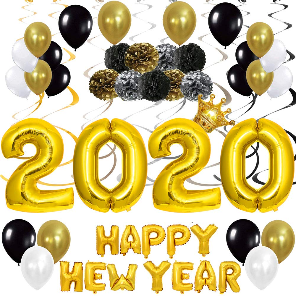 Gold 2020 Balloon Banner 40In New Years Eve Party Supplies 2020 Party Balloon Kit for Happy New Year Celebration Graduation Party Supplies