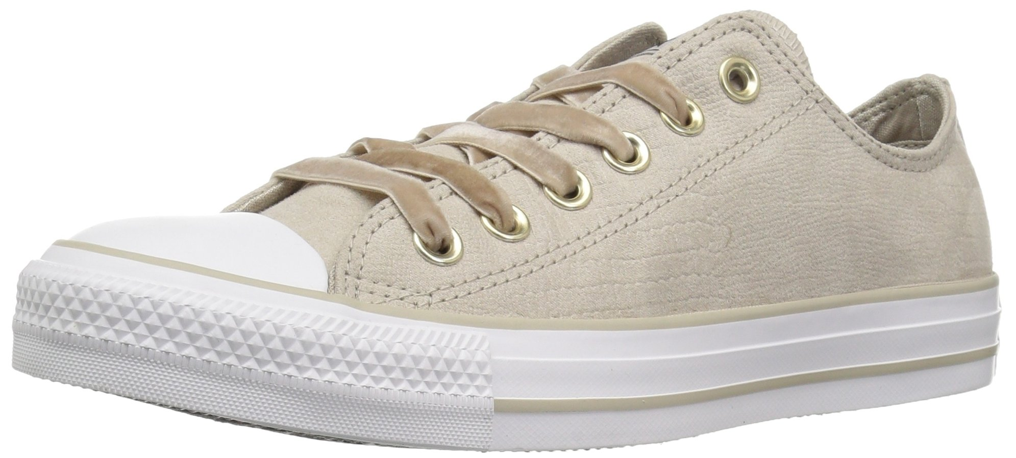 Converse Women's Chuck Taylor All Star Velvet Low TOP Sneaker Papyrus/White, 6.5 M US