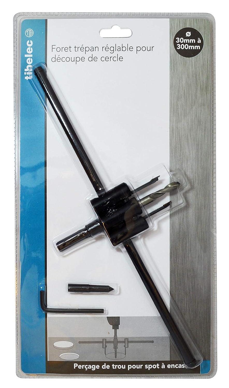 m/étal Noir Tibelec 307750 Foret tr/épan r/églable pour d/écoupe cercle 30 /à 300mm 300x50x50mm