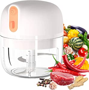 VOUM Electric Mini Garlic Chopper, Food Slicer and Chopper, Portable Garlic Blender Mini Chopper Food Processor for Garlic, Vegetables, Fruits, Meat, Onions (250 ml) (White)