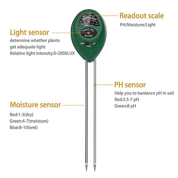 Amazon Drter S30 Soil Moisture Meter Sunlight Ph Acidity 3