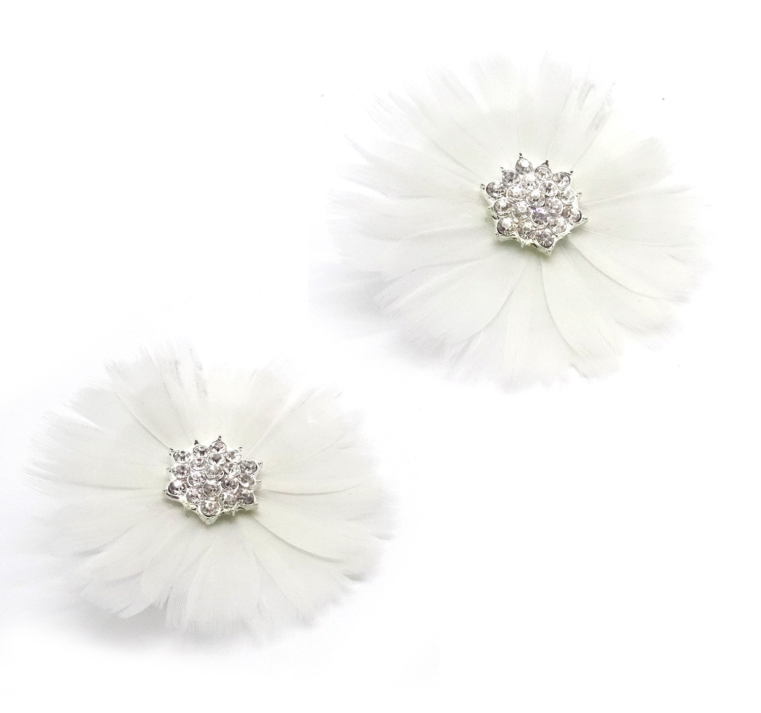 L'vow Nature Feather Shoe Clips Clutch Grip Shoes Clip Wedding Decoration Pack of 2 (White)