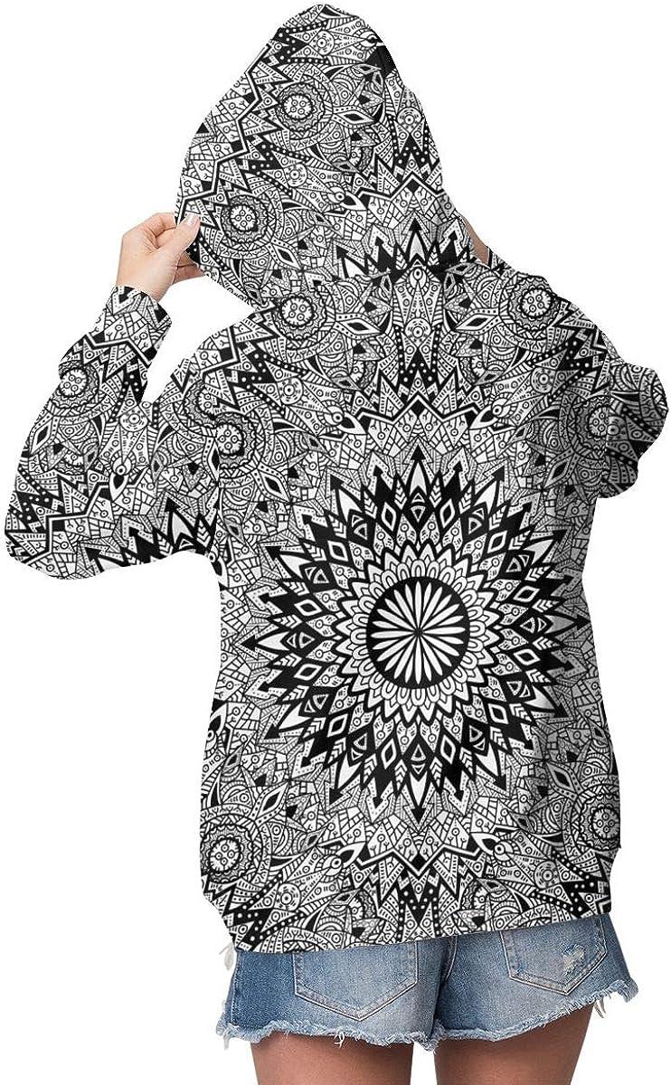 sanlianwangluokeji Custom Womens Hoodie Sweatshirt Pullover Cheese Wine Decorative Pattern Casual Hooded Tops Black White Ethnic Mandala Pattern