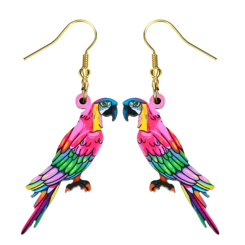 Drop Parrot Earrings Acrylic Long Big Dangle Earrings News Spring Summer Girls Women Jewelry Accessories Fashion Styles,PhotoColor5