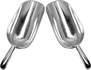 Set of 2 Large (38 Oz.) BonBon Aluminum Ice Scoop, Dry Goods Bar Scooper High Grade Commercial Scoop