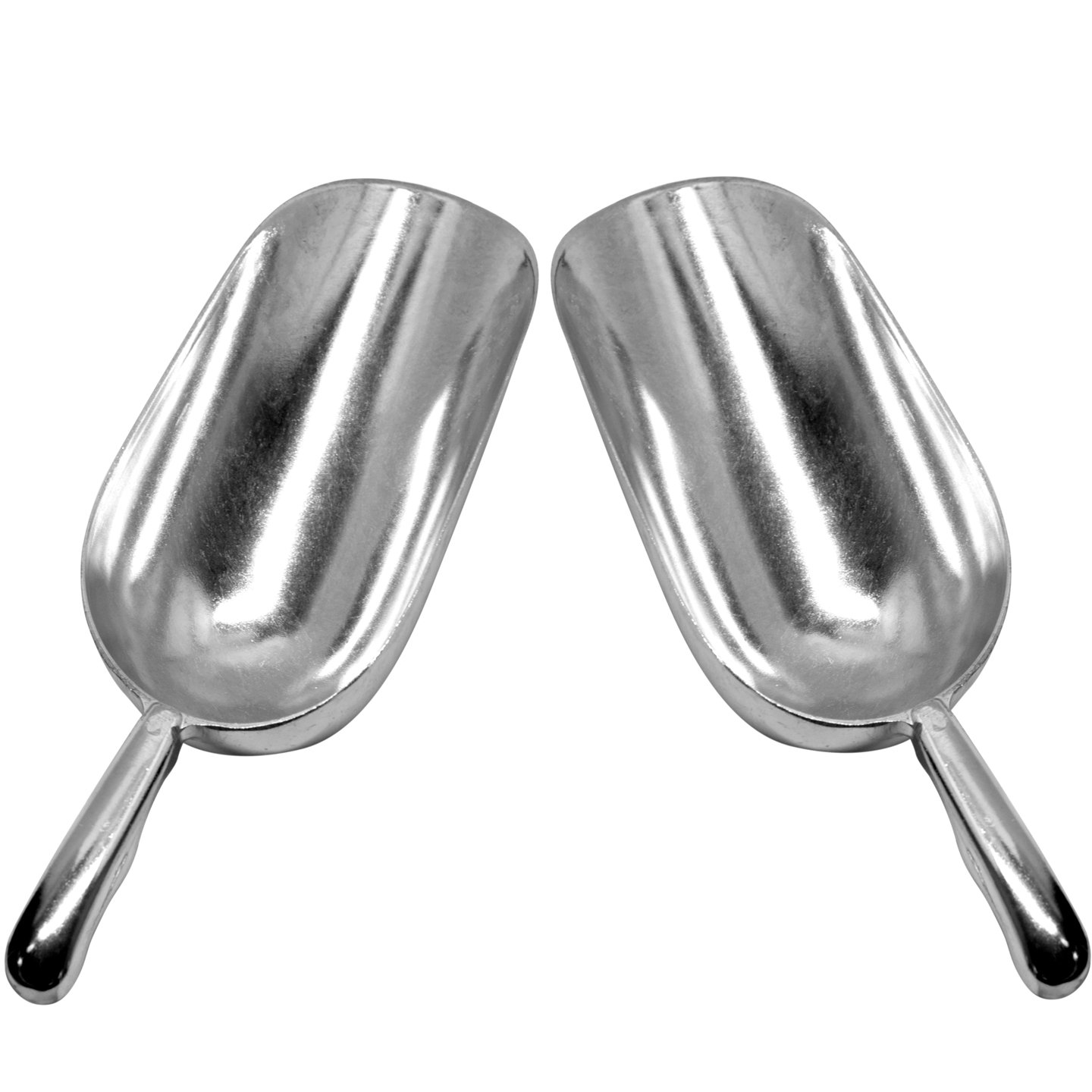 Set of 2 Large (38 Oz.) BonBon Aluminum Ice Scoop, Dry Goods Bar Scooper High Grade Commercial Scoop