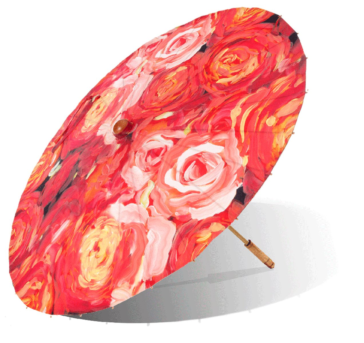 Lily-Lark Coral Roses UV protection sun parasol, rated UPF 50+