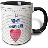 3dRose 1St Wedding Anniversary Gift Paper Celebrating 1 Year Together First Anniversaries one Yr Two Tone Black Mug, 11 oz, Black/White
