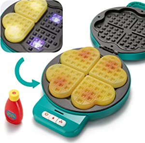 Temi Play Kitchen Set for Kids,Waffle Maker Pretend Food Cooking Set with Sound & Light,Kitchen Accessory Toys for Toddler Boys and Girls,Christmas Birthday Gift for Kids Age 3+