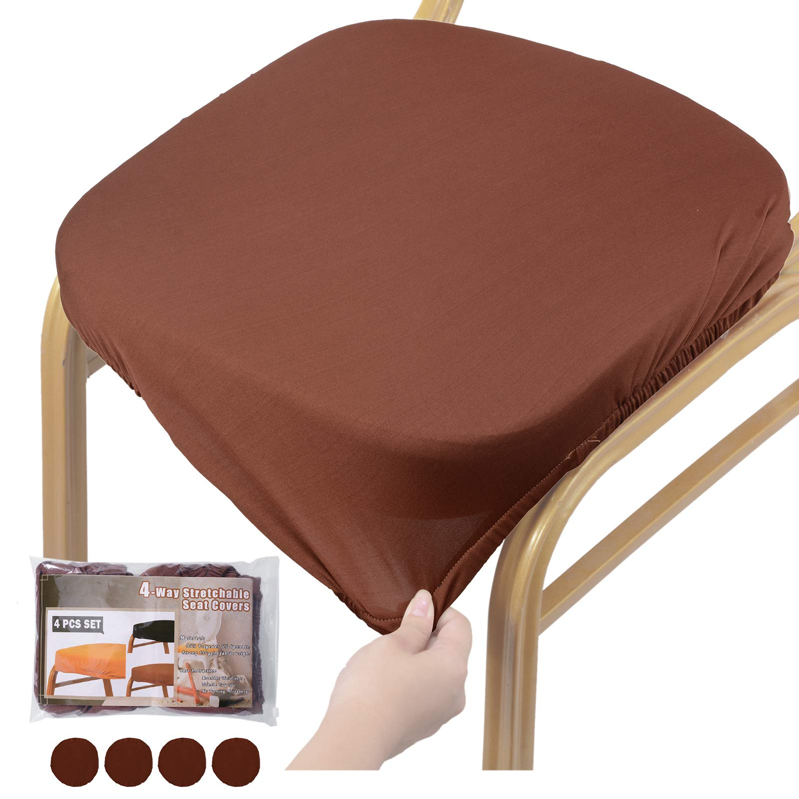 Voilamart Chair Seat Covers, Stretchable Dining Chair Cover Slipcovers, Soft Chair Protectors for Dining Room Patio Office Chair - Pack of 4, Coffee