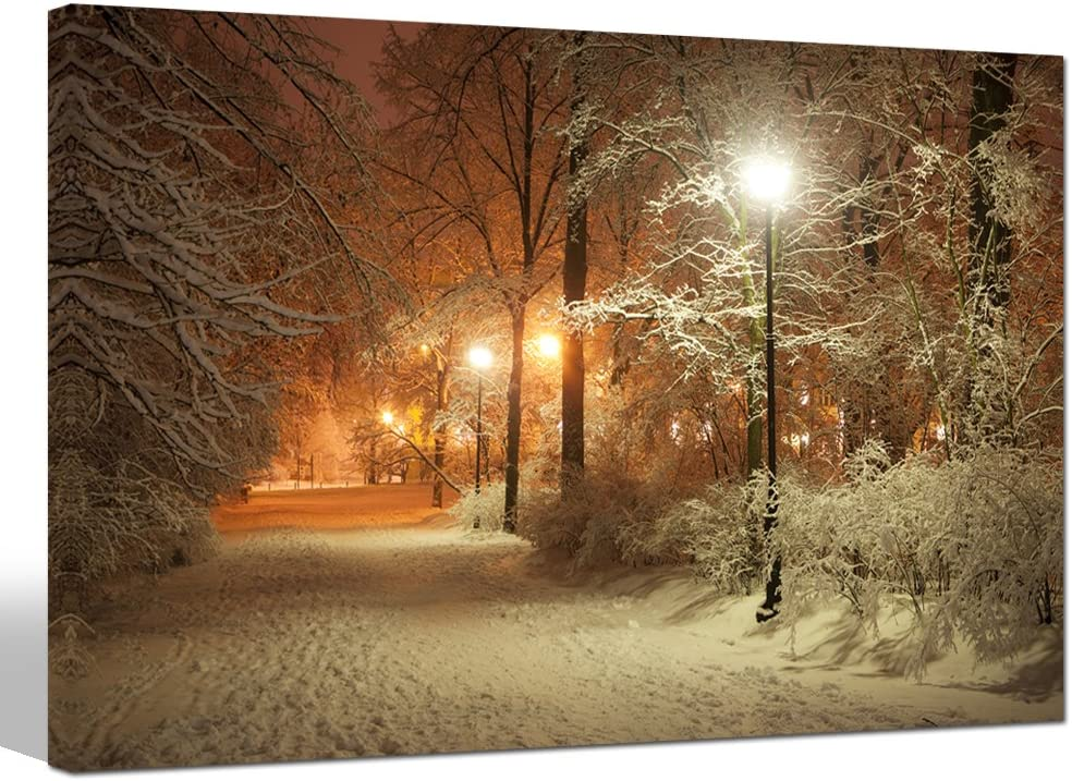 sechars - Warm Winter Park Canvas Prints Alley and Shining Lanterns Picture Photo Canvas Wall Art USA Landscape Canvas Print Modern Home Living Room Bedroom Decoration Framed Ready to Hang