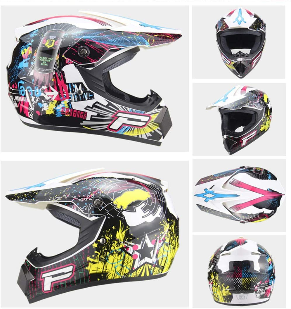Casco Cruzado de Motocicleta Enduro Todoterreno ATV Downhill Dirt Bike Casco Integral MTB BMX Quad Moto Crash Casco Guantes//Gafas//M/áscara//Red de Casco Set de Casco de Motocross con Dise/ño FOX