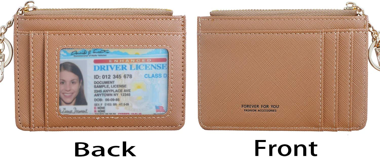 Blue Women Slim Leather Minimalist Front Pocket Wallet Card Case Holder with ID Window /& Keychain