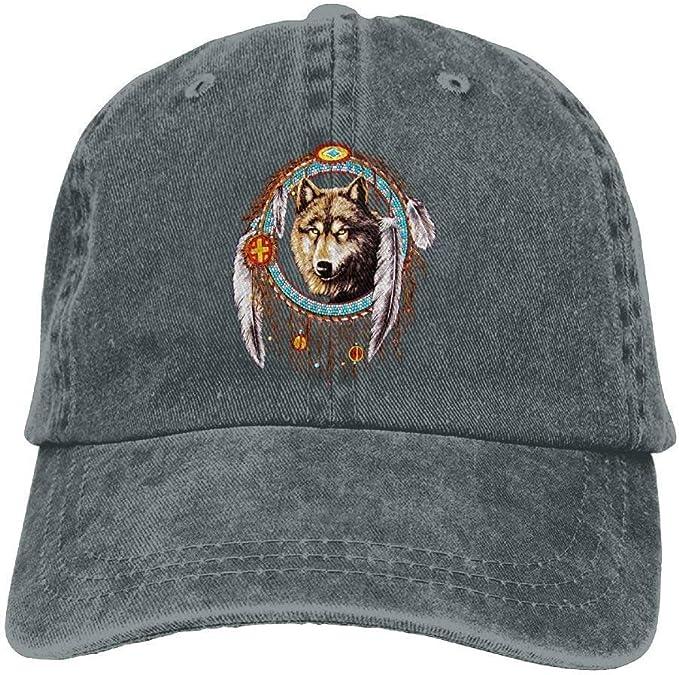 Gorras de béisbol de vaquero atrapasueños de lobo indio para ...