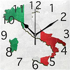 Love Animal Wall Clocks Italy Vector Map with Flag Silent Non Ticking Digital Wall Clock Battery Operated Square Clocks for Kids Kitchen Bathroom Living Room Decorative School Home Bedroom Office